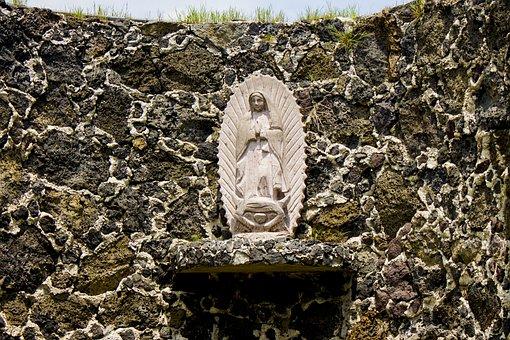 Virgin In Stone, Mexico, Tepoztlán, Wall, Altar