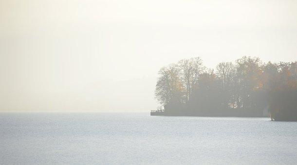 Island, Lake, Fog, Mountains, Alps, City, Gmunden