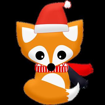Fox, Hat, Scarves, Christmas, Winter, Cute, Animal