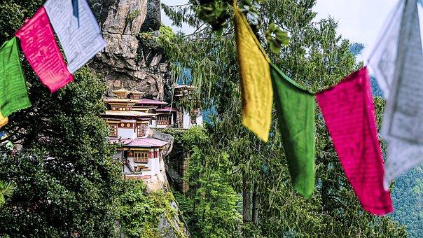 Flags, Decoration, Building, Mountain, Bhutan