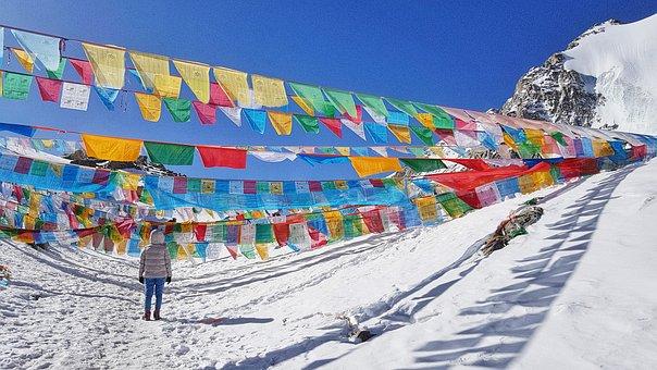 Mountain, Snow, Flags, Festive, Colourful, Sky, Tibet