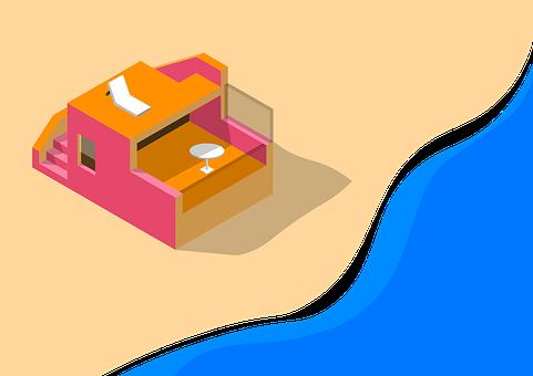 Beach House, Beach, House, Isometric