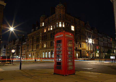 London Phone Box, Red Phone Box, West London, Night