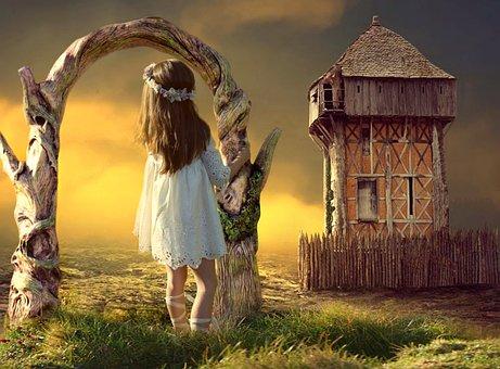 Gadis Kecil, Baju, Berdiri, Pintu, Rumput, Kastil