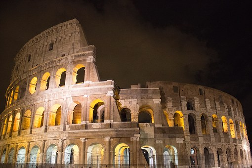 Rome, Italy, Night, Lit Up, Ancient, Architecture