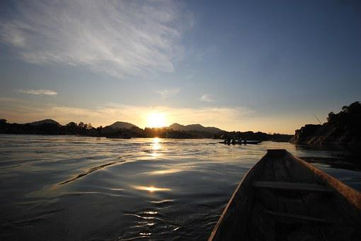 Sunset, Water, Boat, Laos, 4000 Islands, Asia, Mekong