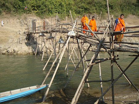 Monks, Buddhist, Laos, Bridge, River