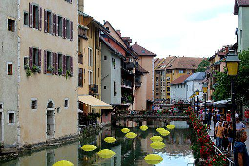 Annecy, France, Channel, Water, Romantic, Atmosphere