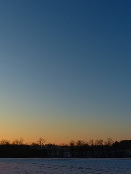 Landscape, Winter, Comet, Tail, Shooting Star