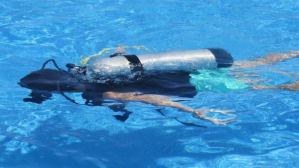 Diver, Deep Sea Fishing, Oxygen, Oxygen Bottle, Swim