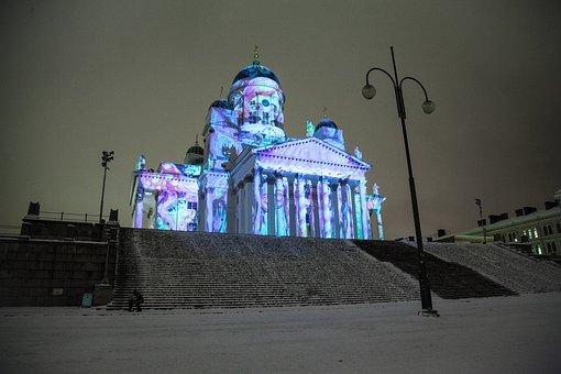 Helsinki Cathedral, Lux Helsinki, Light Show, Snow