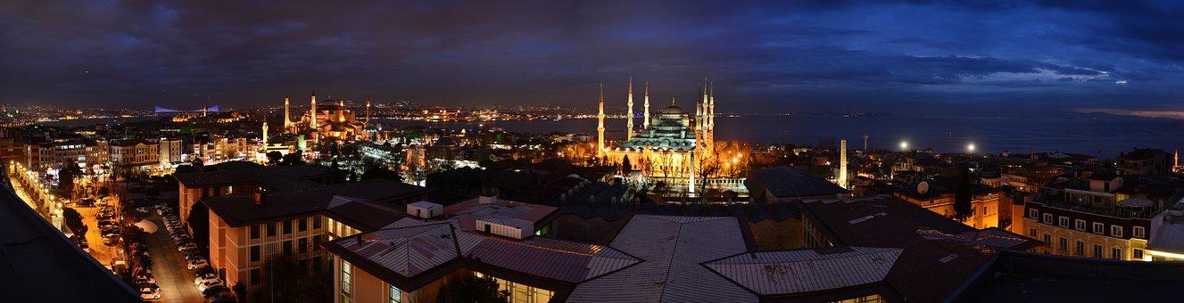 Istanbul, Turkish, Blue Mosque, Cami, Night