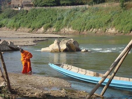 Buddhist Monk, Laos, River Bading