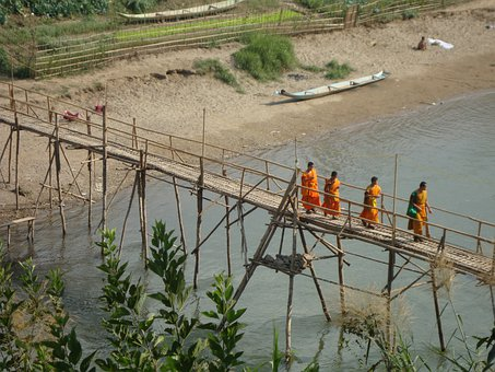 Buddhist, Monks Crossing Bridge, Laos