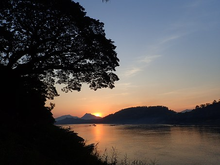 Luang Prabang, The Mekong, Sunset, Laos