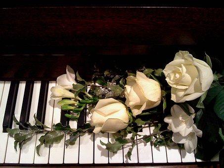 Piano, Roses, Music, Romantic, Love, Piano Keys