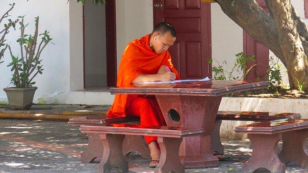 Laos, Luangprabang, Asia, Temple, Buddhism, Monk