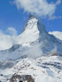 Alpine, Mountain, Snow, Clouds, Zermatt, Matterhorn