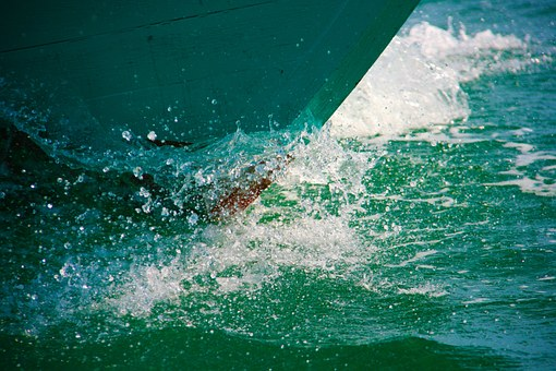 Prow, Boat, Wave, Sea, Ocean, Water, Blue, Nature
