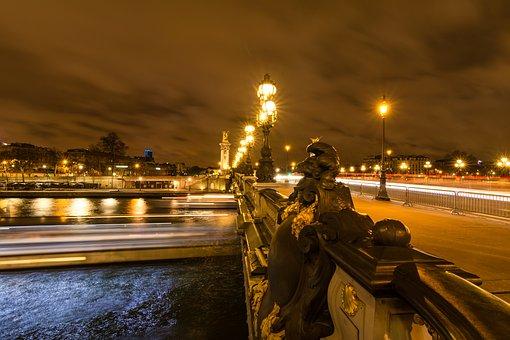 Paris, Bridge, Street, Night, Light, France