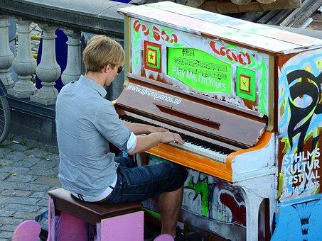 Piano, Street, On The Street, Man, Pianist, Pianino