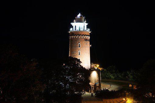 Lighthouse, Kołobrzeg, At Night, Baltic Sea, Poland