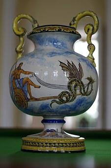 Vase, Porcelain, Chinese, Dragon, Color, Decorated