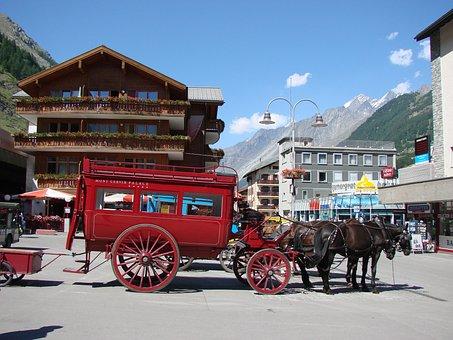 Carriage, Coach, Mountains, Switzerland, Zermatt, Red