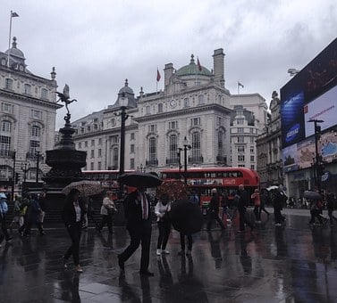 London, Rain, Piccadilly Circus, Regent Street