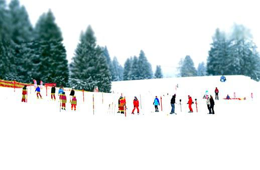 Ski School, Ski Lessons, Miniature Effect, Mountains