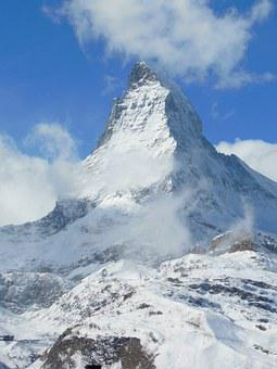 Alpine, Mountain, Snow, Clouds, Zermatt, Matterhorn