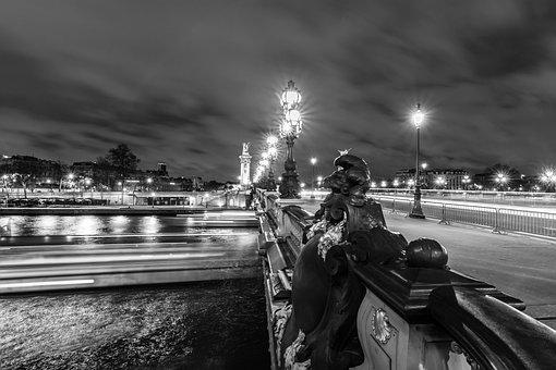 Paris, Bridge, Street, Night, Light, Black And White