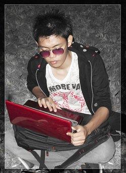 Studying, Student, Asian, Man, Boy, Notebook, Blogging