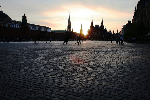 Red Square, Sunset, Paving, Reflective, Vast, Expansive
