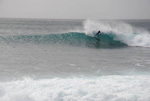 Surfing, Cap Verde In The Island Of Sal, Rider Unknown