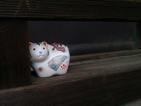Japan, Temple, Cat, Porcelain, Traditional