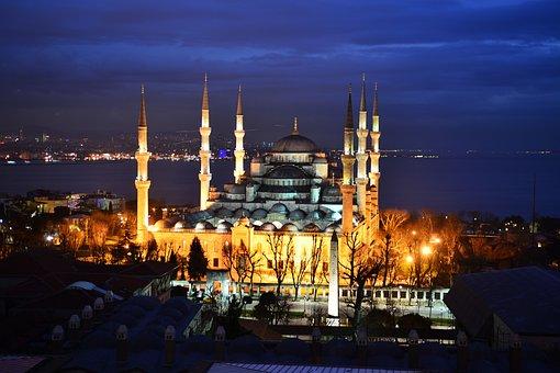 Blue Mosque, Istanbul, Turkish, Cami, Night