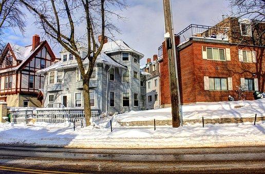 Wisconsin, Madison, Buildings, Usa, Langdon, Winter