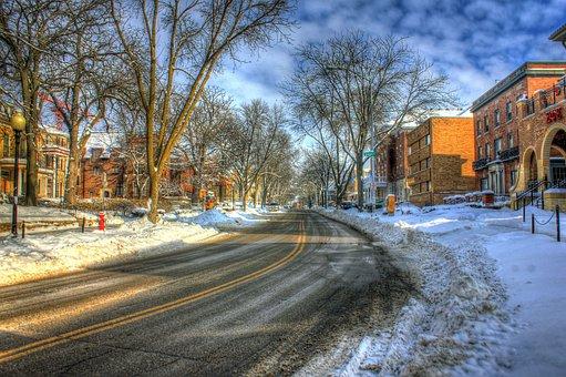 Street, Wisconsin, Madison, Road, Usa, Snowy, Langdon