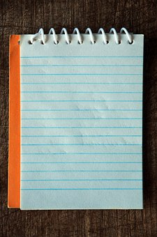 Vintage, Notebook, Orange, Blue Lines, Paper, Wire-o