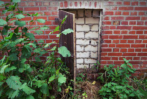 Door, Wall, Bricked Up, Input, Closed, Old, Wooden Door
