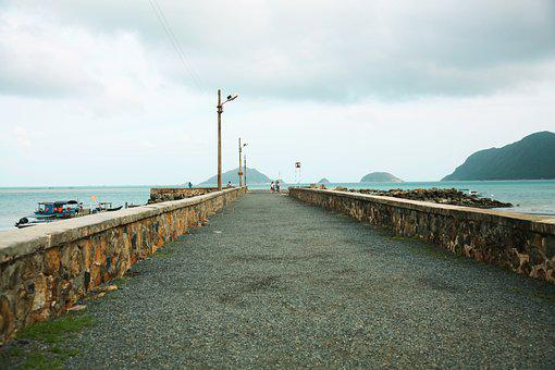 Pier, Con Son Island, Breakwaters, Sea, Ocean