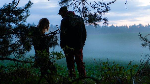 Fog, Silhouettes, Mood, Meadow, Field, Trees, One