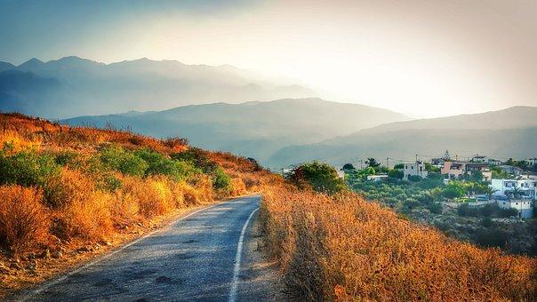 Road, Town, Mountains, Grass, Wild Grass, Shrubs