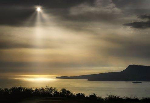 Island, Sea, Horizon, Ocean, Sunlight, Sunbeams