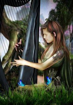 Perempuan, Remaja, Bermain, Alat Musik, Harpa