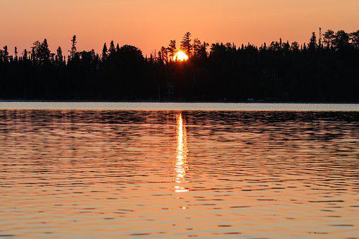 Sunrise, Lake, Trees, Silhouette, Reflection, Water