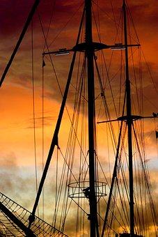 Schooner, Mast, Sails, Moored, Cordage, Rigging, Sunset