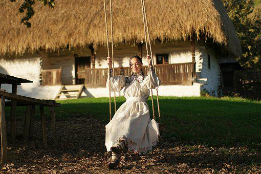 Girl, Model, Swing, Dress, Smiling, Traditional Costume