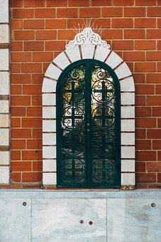 Door, Building, Window, Bricks, Church, Wall